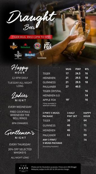 THE BARN Menu (Beer) – PG